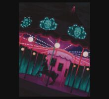 Pink and Purple Carnival, Oil Painting of Carousel, horse and faces T-Shirt