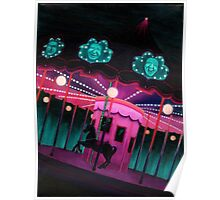 Pink and Purple Carnival, Oil Painting of Carousel, horse and faces Poster