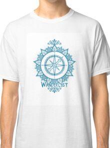 Wanderlust Compass Design - Blue Classic T-Shirt