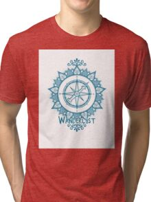 Wanderlust Compass Design - Blue Tri-blend T-Shirt