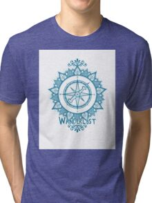 Wanderlust Compass Design - Blue Tri-blend T-Shirt