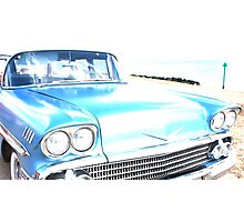 Bright Bleached Cadillac Hood Photographic Print
