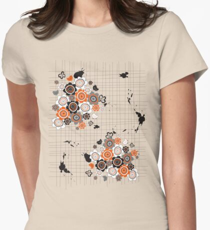 Orange Flowers and Chicks Scrapbook Doodles Womens Fitted T-Shirt