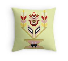 Flower pot, traditional mosaic expression. Throw Pillow