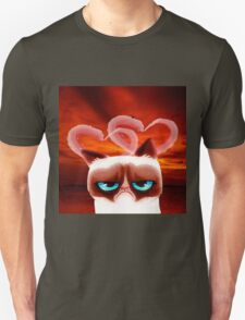 Angry Cat and Hearts T-Shirt