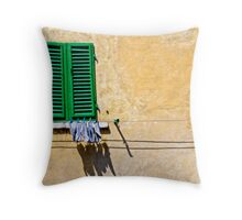 One-legged man's washing day Throw Pillow