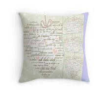 Words of Love Designer Art Powder Blue Throw Pillow