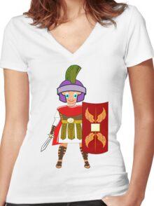 Roman Toon Boy 9 - no gladiator rebellion tonight Women's Fitted V-Neck T-Shirt