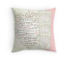 Words of Love Designer Pink Art Throw Pillow