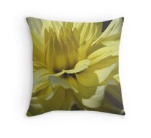 Yellow Dahlia Up Close Flower Photograph Throw Pillow
