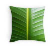 Broad Green Leaf Throw Pillow