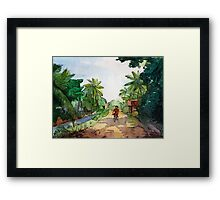 landscape watercolor Indian village, a cyclist on the road Framed Print
