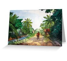 landscape watercolor Indian village, a cyclist on the road Greeting Card