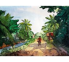 landscape watercolor Indian village, a cyclist on the road Photographic Print