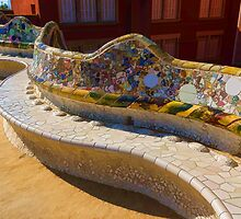 Gaudi's Park Guell Sinuous Curves - Impressions Of Barcelona by Georgia Mizuleva