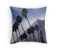 Palm Trees and Office Building Throw Pillow