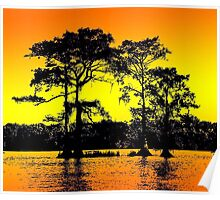 Cypress Tree Silhouettes Poster