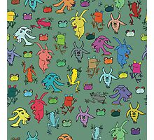 pattern with goats and frogs Photographic Print
