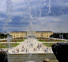 Schoenbrunn through the waterfall by bertspix