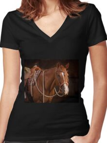 Sorrel AQHA Mare in Bridle and Saddle at DSR Ranch Women's Fitted V-Neck T-Shirt