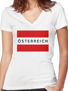 flag of austria Women's Fitted V-Neck T-Shirt