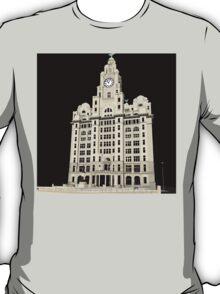 Royal Liver Building - inked on black T-Shirt