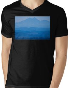 Rocky Mountains Twin Peaks Blue Haze Layers Mens V-Neck T-Shirt