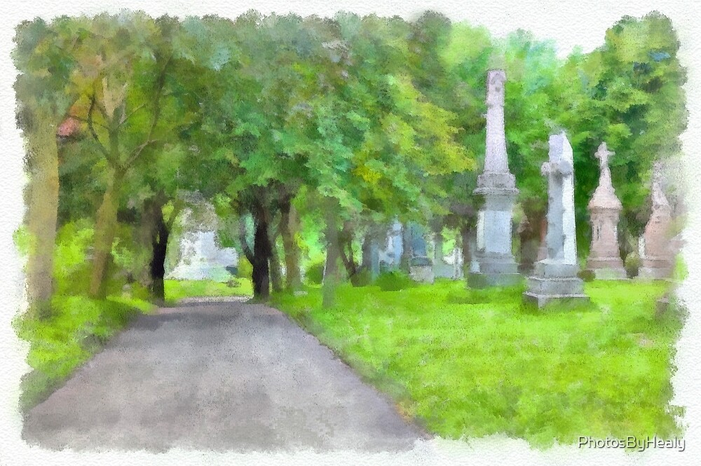 Cemetery lane - watercolour by PhotosByHealy