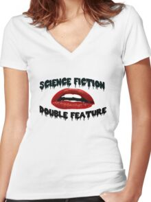 Science Fiction Double Feature Women's Fitted V-Neck T-Shirt