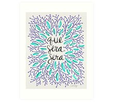 Whatever Will Be, Will Be (Navy & Turquoise) Art Print