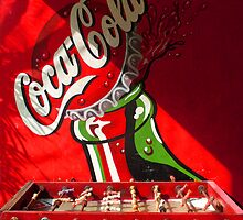 Coca Cola Ad with red table football by Guy Tschiderer