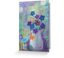 A Bird and a Flower Vase  Greeting Card