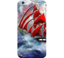 Clipper Ship Indian Queen in Rough Seas (2) - all products iPhone Case/Skin