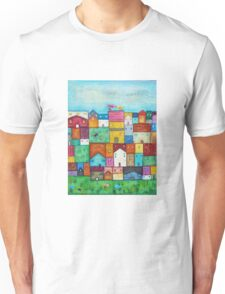 Town and Birds Unisex T-Shirt
