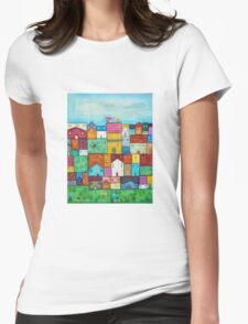 Town and Birds Womens Fitted T-Shirt
