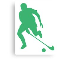 Green Field Hockey Player Silhouette Canvas Print