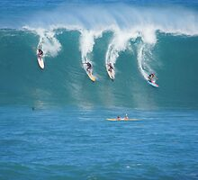 Waimea Bay Coed Surfing by kevin smith  skystudiohawaii