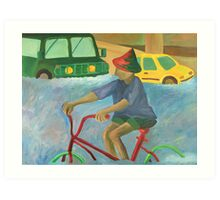 Riding in the Flood Art Print
