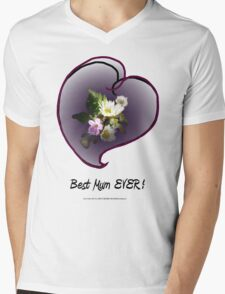 wildflower, Best Mum EVER! heart  Mens V-Neck T-Shirt