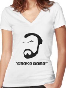 Smoke Bomb  Women's Fitted V-Neck T-Shirt