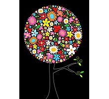Whimsical Colorful Spring Flowers Pop Tree Photographic Print