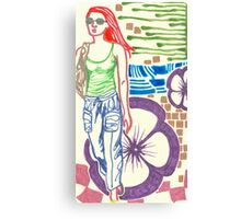 redhead with flower Canvas Print
