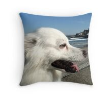 Sylvie at Narragansett Beach Seawall Throw Pillow