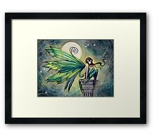 Aquamarine Fairy and Moon Celestial Fantasy Art Framed Print