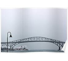 Blue Water Bridge with Lamp 2 Poster