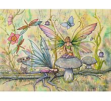 Friends Flower Fairies in Flower Garden Fantasy Art Photographic Print