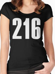 216 Cleveland [White Ink] | Phone Area Code Shirts Stickers Women's Fitted Scoop T-Shirt