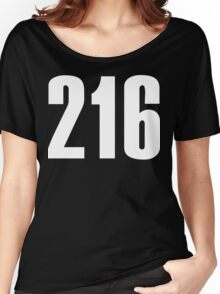 216 Cleveland [White Ink] | Phone Area Code Shirts Stickers Women's Relaxed Fit T-Shirt
