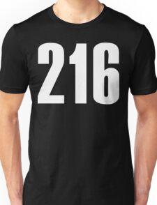 216 Cleveland [White Ink] | Phone Area Code Shirts Stickers Unisex T-Shirt