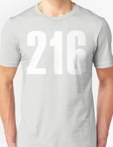 216 Cleveland [White Ink] | Phone Area Code Shirts Stickers Unisex T-Shirt